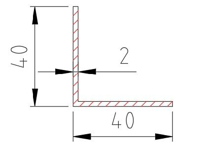 Hliníkový L profil 40x40x2 mm délka 6000 mm, materiál EN AW-6060 T6