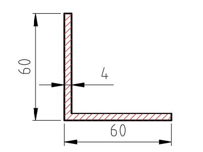 Hliníkový L profil 60x60x4 mm délka 6000 mm, materiál EN AW-6060