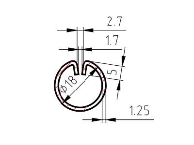Lemovací profil A, drážka 1,7 mm, 1,25x18 mm, délka 3000mm