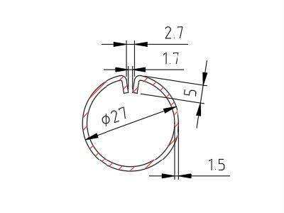 Lemovací profil B, drážka 1,7mm, 1,5x27 mm, délka 3000mm