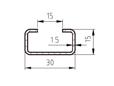 Lemovací profil C 15x30x15 drážka 15 mm, síla 1,5 mm, formát 6000 mm