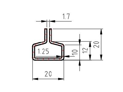 Lemovací profil C, drážka 1,7 mm, 1,25x20x12x20 mm, délka 3000mm