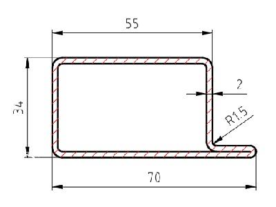 """Lemovací profil """"L"""" jakl nosný """"PRAPOREK"""" rozměr 70x34x55/2mm; délka 6000mm"""