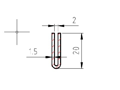 Lemovací profil U drážka 2 mm; 1,5x20x20 mm, délka 2500 mm
