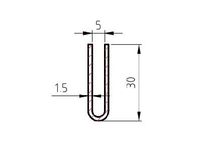Lemovací profil U drážka 5 mm; 1,5x30x30 mm, délka 2500 mm