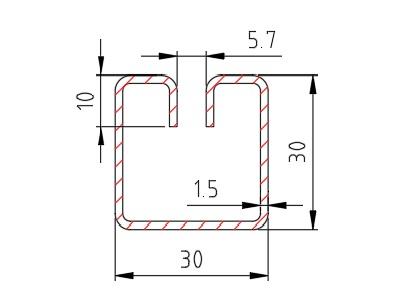 """Lemovací profil """"WG30"""" (30 x 30 mm); délka 3100 mm"""