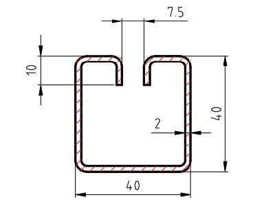 Lemovací profil WG40 (40 x 40 mm); délka 3000 mm
