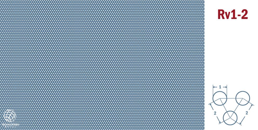 Rv 1-2; tloušťka 1 mm, Děrovaný nerezový plech 1.4301 - 1.4307