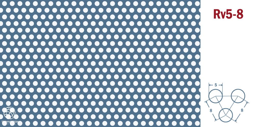 Rv 5-8; tloušťka 1 mm, Děrovaný  nerezový plech 1.4301 - 1.4307
