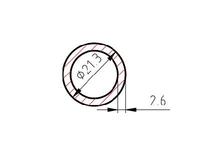 Trubka 21,3 x 2,6 mm, délka 2000 mm