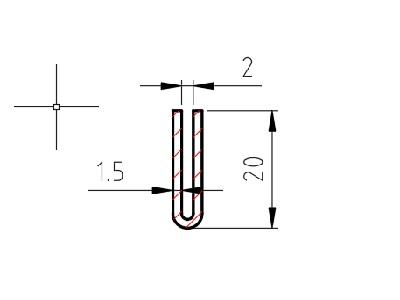 Lemovací profil U drážka 2 mm; mat.: 1.4301 ; 1,5x20x20 mm, délka 2500 mm